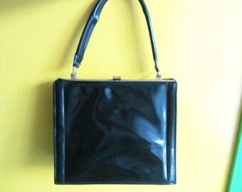 Original Vintage Soviet Russan Lady's Bag. Reticule. Genuine Leather. Women's Hand Bag. Handle Leather Bag. USSR 1950's
