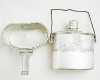 Soviet Russian Army Airborne Flask Canteen Set USSR Kettle Stove 3 Piece Grease