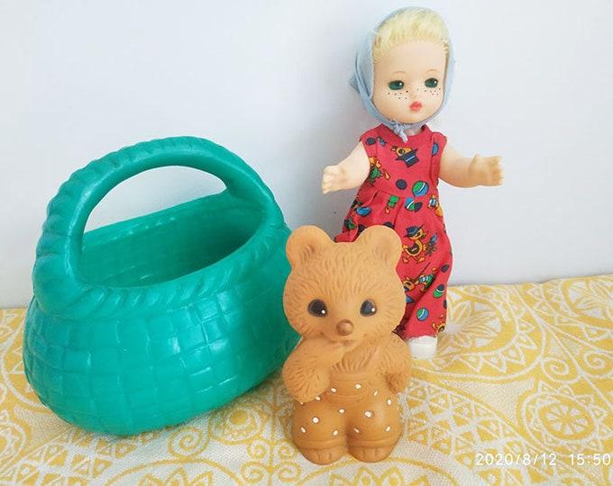 "Set Of 3 Original Soviet Russian Vintage Toys ""Masha, Bear and  Basket"" USSR"