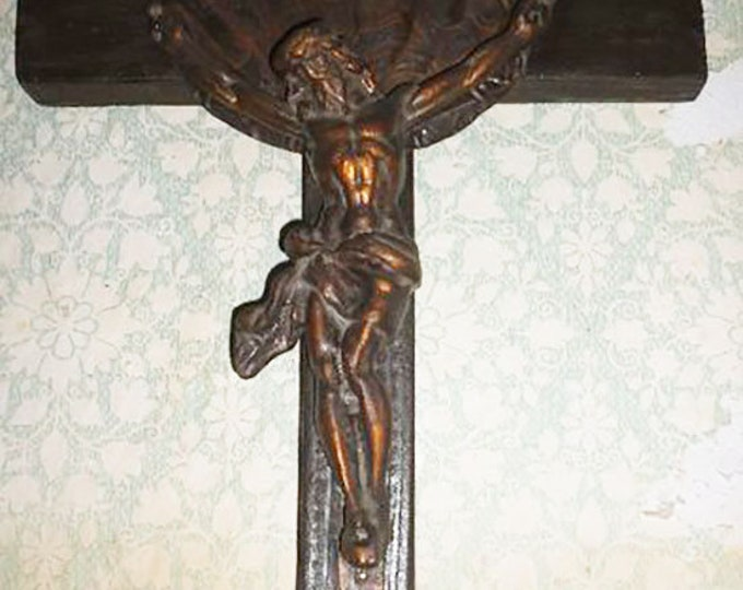 Large Vintage Copper Crucifix Wall Wooden Cross Jesus Crucifixion Raised Corpus