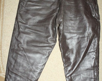 Original Soviet Russian Army Military Flight Genuine Leather Pants Trousers Uniform USSR