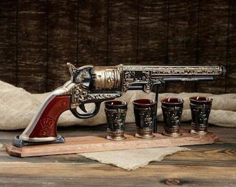 "New Gift Souvenir Decanter Set For Alcohol ""Revolver Colt"". Ceramic Bottle and 4 Wineglasses. Shtof , Jug for Alcohol"