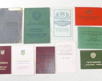 Set Of 10 Original Soviet Russian And Ukrainian Vintage Documents,ID,Award ID