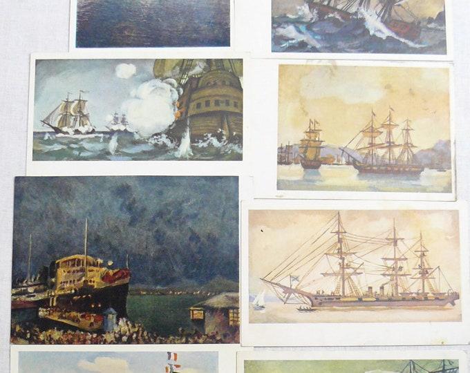 Set 8 Soviet Vintage Postcards Art Painting Marine Sea Ships History 70's