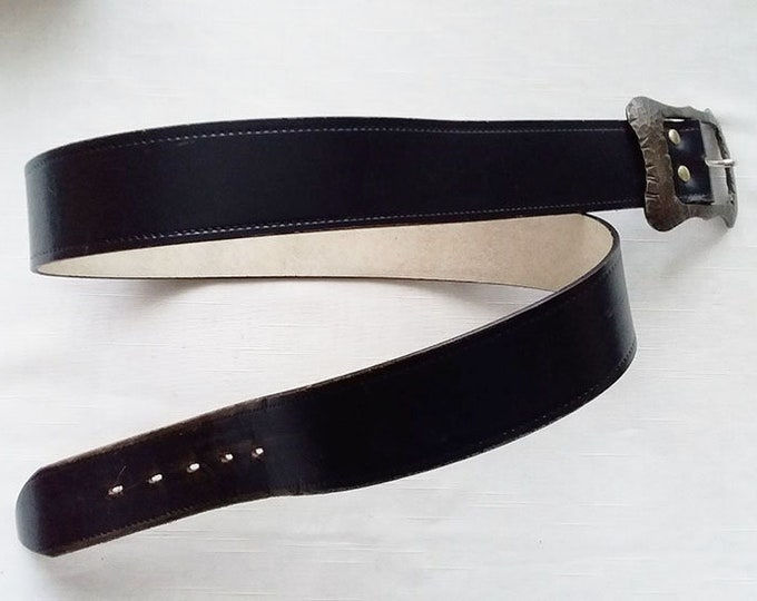 Original Vintage English Leather Belt Size L 34 Made In England