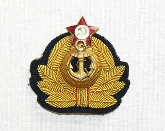 Original WWII Soviet Navy Visor Hat Composite Badge Cockade WW2 Marine Uniform