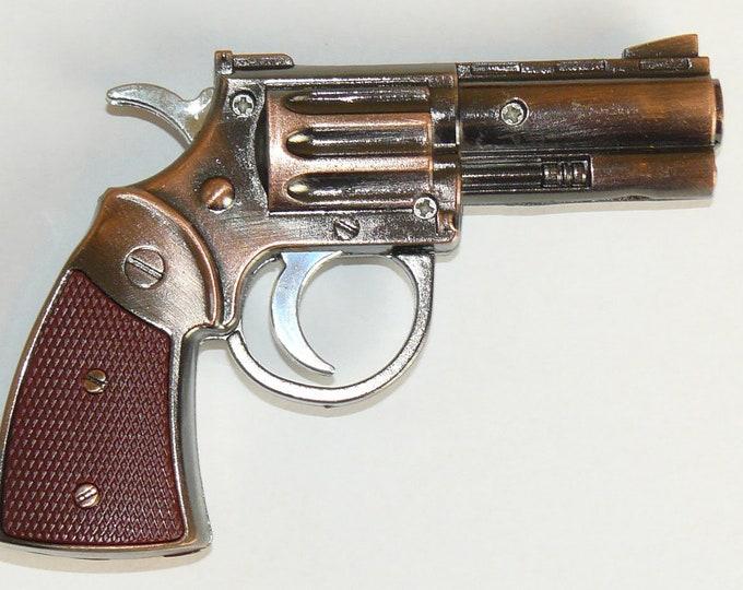 New Souvenir Jet Flame Mini Pistol Gun Metal Gas Lighter Revolver