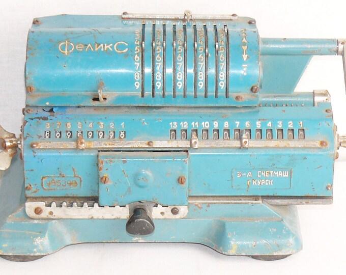 Vintage Soviet Mechanical Calculator Felix Adding Machine Russian Arithmometer