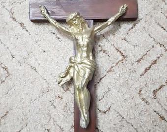 Large Vintage Bronze Crucifix Wall Cross Jesus Crucifixion Raised Corpus