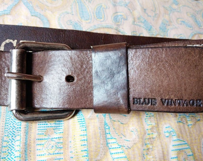 """New Original Vintage Dutch Genuine Leather Belt """"BLUE VINTAGE"""" Made In The Netherlands"""