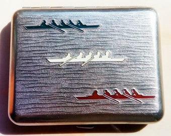 "Vintage Metal Cigarette Case Box ""Rowing"" Soviet Russian Cigar- Case. Tobacciana USSR. 1960"