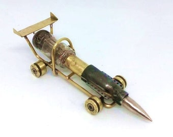 Trench Art Racing Car Formula 1 Model Made from WW2 Shells, Cartridges, Bullets, Old Radio Lamp. Toy - Bolide