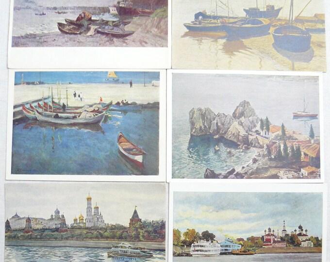 Set 6 Soviet Vintage Postcards Art Painting Marine Sea Ships Realism 50's
