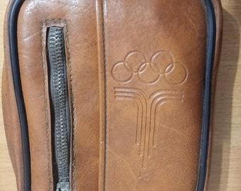Rare Original Vintage Men's Bag 1980 Olympics. Genuine Leather. Men's Hand Bag. Men's Leather Handle Bag.