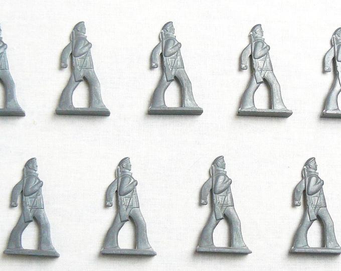 Vintage Soviet Russian 9 pcs Tin Pewter Soldiers Revolution Sailors Toys USSR