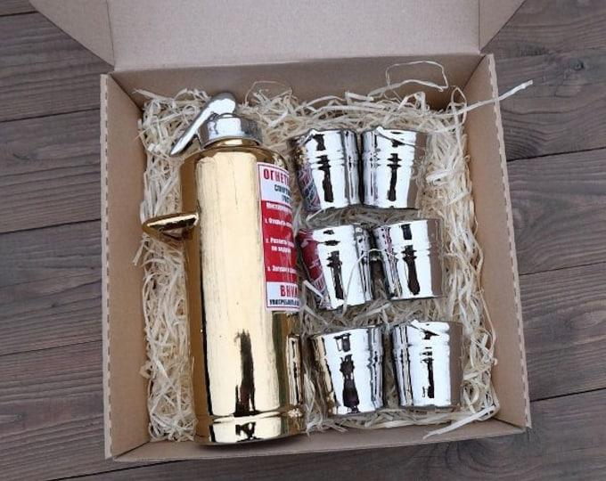 "New Gift Souvenir Decanter Set For Alcohol ""Golden Fire Extinguisher"". Ceramic Bottle  and 6 Wineglasses. Shtof , Jug for Alcohol"