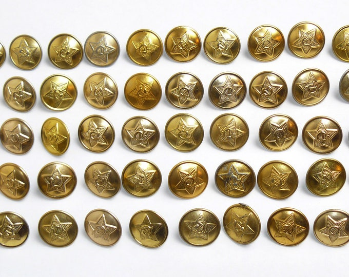 Vintage Lot 50 Large Buttons Soviet Russian Army Uniform USSR from 70's