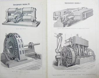 Antique Russian Page Electric Machines Pre 1917 Illustration Original