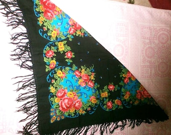 Original Soviet Russian Vintage  Headscarf With Tassel And Print USSR Middle Size