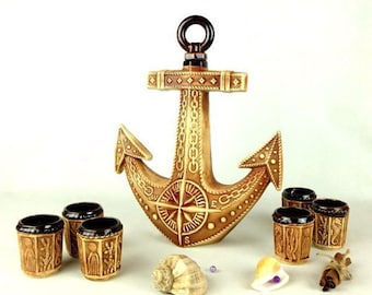 """New Gift Souvenir Decanter Set For Alcohol """"Anchor"""". Ceramic Bottle  and 6 Wineglasses. Shtof , Jug for Alcohol"""