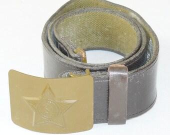 Original Soviet Russian Canvas Belt Buckle Soldier Army Military Uniform USSR