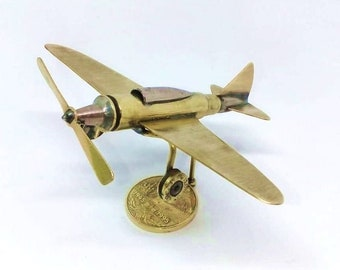 Trench Art Soviet Jet Fighter LA-7 Model Made from WW2 Shells Cartridges Toy