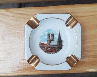 "New Vintage German Collectible Ashtray ""Munich"" . Porcelain Ceramic Ashtray.  Tobacciana Germany."