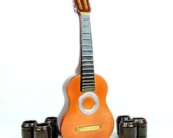"New Gift Souvenir Decanter Set For Alcohol ""Acoustic Guitar"". Ceramic Bottle and 6 Wineglasses. Shtof , Jug for Alcohol"