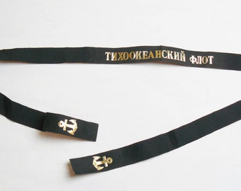 Soviet Russian Army Military Navy Tape for Sailor Cap Hat Pacific Fleet