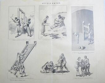 Antique Russian Page Instruments of torture Pre 1917 Illustration Original