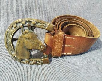 "Original Vintage Genuine Leather Belt ""Horse Head"" Brass Bronze Buckle Cowboy Style"