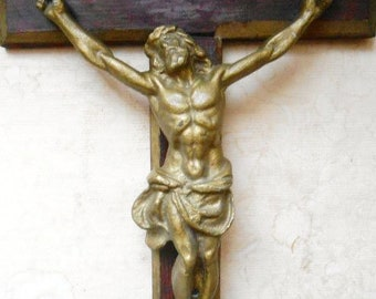 Large Vintage Bronze Crucifix Wall Wooden Cross Jesus Crucifixion Raised Corpus