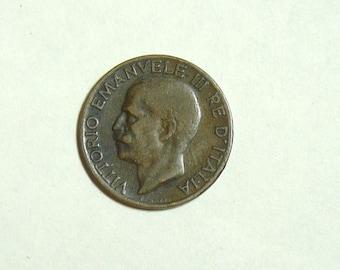 5 Cent Kingdom Italy 1926 R Vintage Old Coin. Kingdom D' Italy Spiga 5 Cent 1926. Pre WW2 Coin. Italian Money. European Coins.