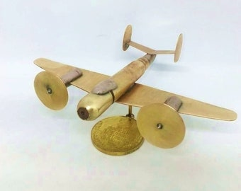 Trench Art French Dassault MD 315 Flamant Aircraft Model Made from WW2 Shells Cartridges Toy