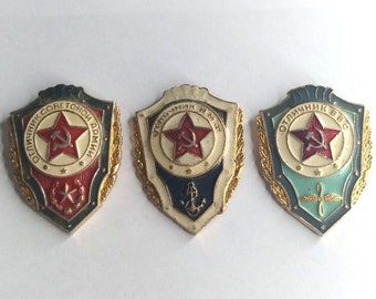 Set of 3 Soviet Military Russian Vintage Pins Excellent Soldier. Collectible Badges. USSR