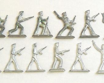 Vintage Soviet Russian 11 pcs Tin Pewter Soldiers Sailors Toys USSR