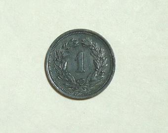 1 Rappen Helvetia 1943 Vintage Old Coin. Swiss  Coin. Pre WW2 Coin. Swiss  Money. European Coins.