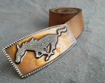 "Original Vintage Genuine Leather English Belt ""Mustang"" Buckle River Island Brand"