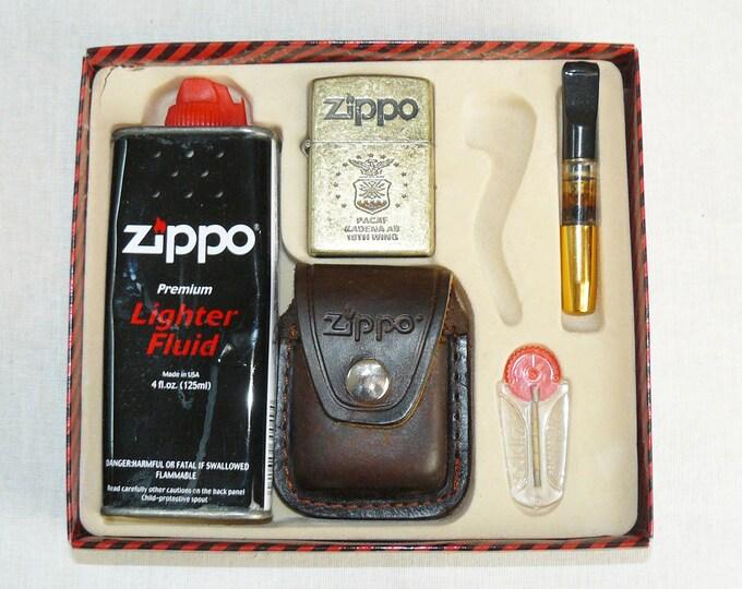 "Zippo Lighter ""Pacaf Kadena AB 18th Wing"" Holster Fuel Cigarette Holder Flints"