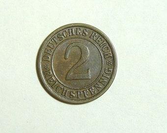 2 Pfenning 1924 A Vintage Old Coin. German Imperial Coin. Pre WW2 Coin. Deutsches Reich Money. European Coins.