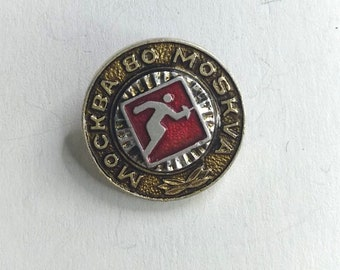 """Soviet Russian Vintage Pin Soviet Sport Fencing """"Summer Olympic Games Moscow 1980"""".  Collectible Badge. USSR"""