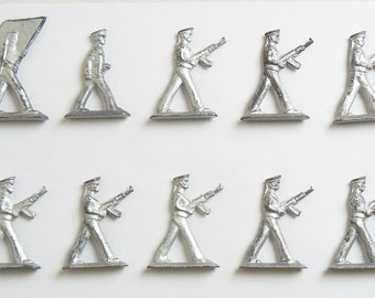 Vintage Soviet Russian 10 pcs Tin Pewter Soldiers Marines Sailors Toy USSR