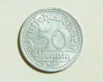 50 Pfenning 1922 A Vintage Old Coin. German Imperial Coin. Pre WW2 Coin. Deutsches Reich Money. European Coins.
