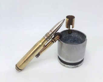 Trench Art Ashtray Made From Original WW2 Shell Cartridges Bullets + Lighter