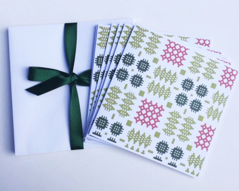 6 Welsh Blanket Design Blank Notelets
