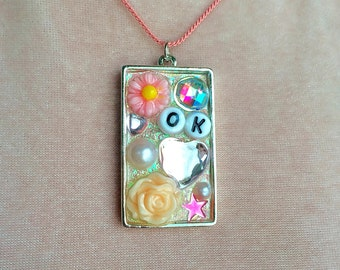 OK Iridescent Baby Pink Collage Shadow Box Resin Pendant