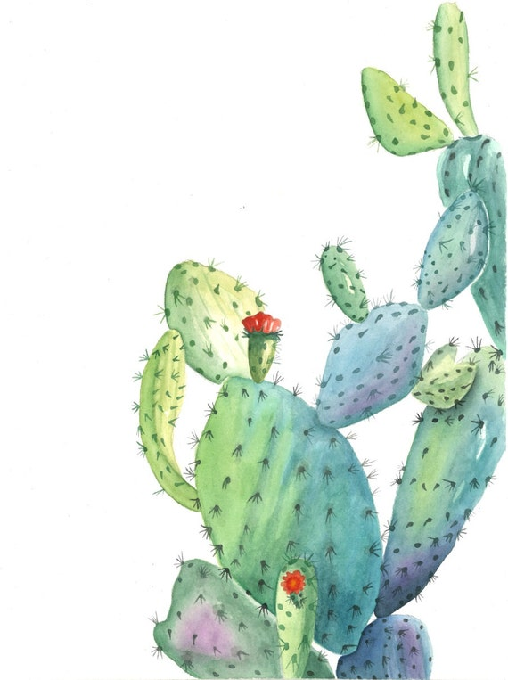 figue de barbarie cactus impression de original cactus etsy. Black Bedroom Furniture Sets. Home Design Ideas