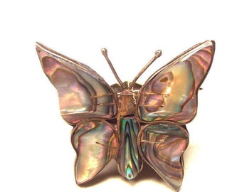 Butterfly Pin Brooch - Abalone Jewelry - Mexican Silver with Taxco Hallamrks Eagle 3