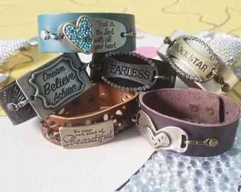 Leather Cuff Message Bracelets. ON SALE!