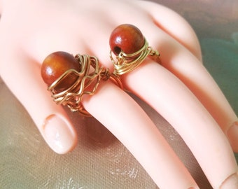 Wooden Bead Wire Wrapped Rings. ON SALE!